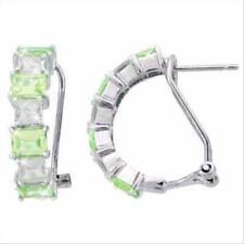 925 Silver Light Green and Colorless CZ Half Hoop Earrings