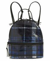 Steve Madden Val Plaid Mini Convertible Backpack, Black/Blue $78