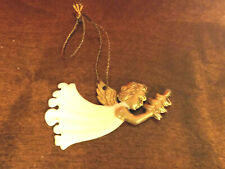 Vintage Flat Ivory and Gold Plastic Angel Christmas Ornament Tiny