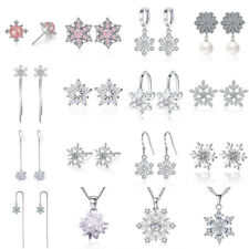 925 Sterling Silver Fashion Snowflake CZ Stud Earring Pendant Necklace For Women