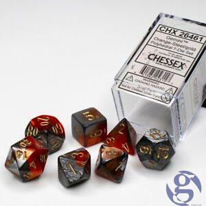 Chessex: CHX 26461 - Gemini Orange-Steel/gold Polyhedral 7-Die set