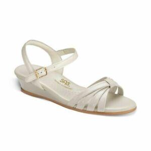 SAS Womens Strippy Open Toe Casual Ankle Strap Sandals Bone Sz 7.5 W