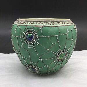 Antique Vintage Moriage Spiderweb Spider Web Design Vase Green White Bowl Nippon