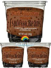 3 Packs Trader Joe's Dark Chocolate Covered Espresso Beans 14 oz Each Pack