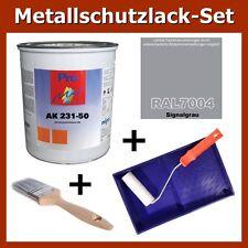 Metallschutz Lack RAL 7004 SIGNALGRAU 1kg Rostschutz Grau Set + Pinsel Zubehör