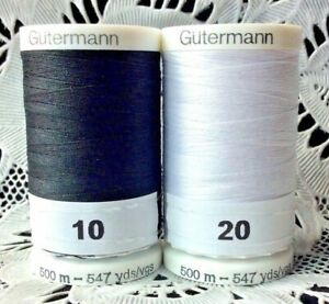 NEW Black & White GUTERMANN 100% polyester thread 547 yard Spools