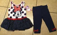 NWT DISNEY Vacation Girl's MINNIE MOUSE Dot Tunic, Capri Leggings Set Size 2T 4T