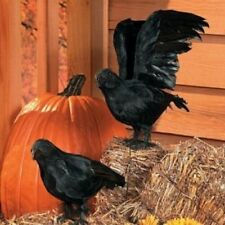 2 Pc Feathered Crows Set Realistic Halloween Prop Holiday Decor Accessory Birds