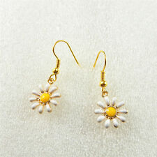 Handmade Enamel Plated Nice Daisy Flower Drop Dangle Earrings Jewelry For Women