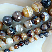 """6mm ~ 12mm Faceted Coffee Stripe Banded Agate Round Gemstone Loose Beads 15.5"""""""