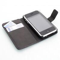 Apple iPhone 3G 3GS portafoglio custodia protettiva nero wallet case cover