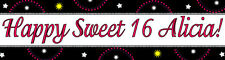 4ft Personalized Name Sweet 16 Black w/ Star Paper Birthday Banner Party Banner