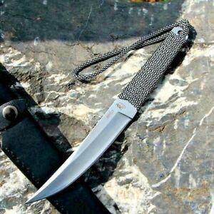 Handmade Japanese Mini Katana Samurai Knife Fixed Blade Forged Steel Ninja Rope