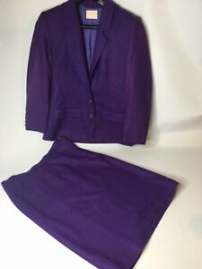 Vintage Pendelton Women 8 Purple Suit Jacket skirt 100 % virgin wool Lined