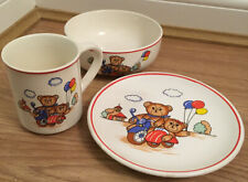 CHILDS BREAKFAST SET MUG PLATE & BOWL Teddies on bike and sidecar with balloons