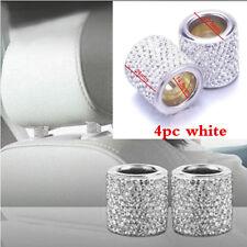 4Pcs Crystal Autos Seat Headrest Collar Decor Charms Diamond Bling Car Interior