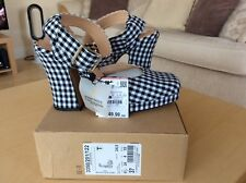 Beautiful Brand New Black And White Check Ankle Strap Sandals By Zara, Size 4