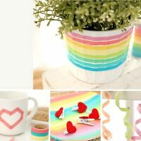10x Decorative Colorful Roll Washi Sticky Paper Masking Adhesive Tape Crafts DIY