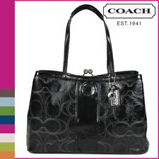 COACH 19215 Black Signature Stitched Patent Leather Carryall Tote Handbag