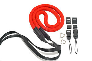 Fully Adjustable Nylon Rope Camera Strap With Quick Release & Split Rings Red