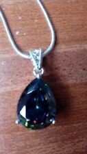 """MYSTIC RAINBOW TOPAZ PEAR DROP PENDANT + 18"""" CHAIN 18K WHITE GOLD FILLED  NEW"""