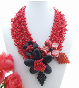 Red Coral Black Onyx Shell Red agate Statement Necklace