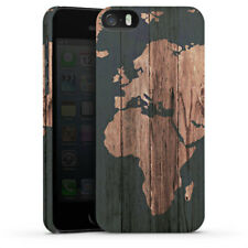 Apple iPhone 5s Premium Case Hülle Cover - Wooden World Map