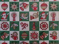VINTAGE CHRISTMAS SANTA CANDY CANE SHINY BRITE ORNAMENTS GIFT WRAPPING PAPER