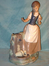 """LARGE NAO LLADRO FIGURINE OF A GIRL WITH BROKEN POT 12"""" TALL FULL BACK STAMP"""