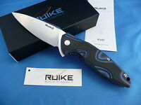 Ruike P105-Q Fang Knife Black & Blue G-10 14C28N Stainless Steel