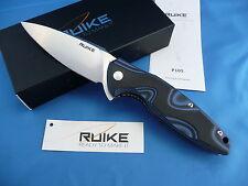 Ruike P105-Q Fang Knife Black & Blue G-10 14C28N Stainless Steel