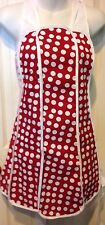 American Hostess Full Apron, Red With White Polka Dots Design, minnie theme!
