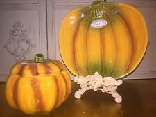 NWT by OLFAIRE PUMPKIN COVERED SOUP BOWL & UNDER PLATE SET DISHWASHER/MICRO SAFE