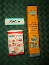 VINTAGE First Aid Tin Lot Clear Band Band aids Dr Scholl's Midol Kurotex Foot