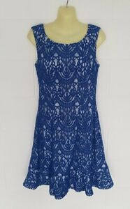 """""""REVIEW"""" EC,  SIZE 10 ROYAL BLUE & WHITE FULLY LINED, SLEEVELESS DRESS"""