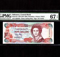 Bahamas 50 Dollars L.1974(1992) P-55a * PMG Superb Gem Unc 67 EPQ * Elizabeth *