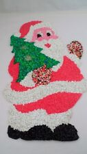 1960s Melted Plastic Popcorn Santa Claus w/ Tree Christmas Xmas Wall Decoration