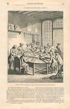 Un Bureau de Poste sous Louis XV à Paris Dessin d'Eustache Lorsay GRAVURE 1868