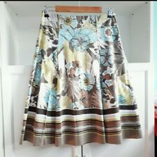 Gerry Weber Skirt Sz 14 Blue Brown Floral Pleated Lined Knee Length /H1913