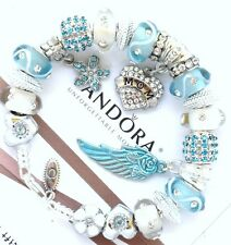 Authentic Pandora Silver Bracelet Blue MOM Angel Wing European Charms New