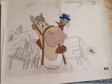 Disney Mickey's Christmas Carol Donald Duck horse with Background cell