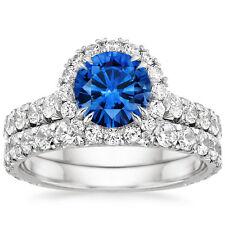 2.00ct Blue Sapphire Diamond Engagement Ring Wedding Band 14k White Gold
