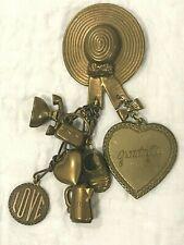 Vintage Brass Grandmother Pin Dangling Charms Sun Hat Heart Phone Purse Teapot