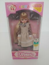 """Takara LICCA 8 1/2"""" Doll Blonde plaid-tan dress 1987 Japan NRFB Barbie RARE"""