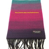 100%CASHMERE SCARF SCOTLAND SOFT Wool Wrap Chevron RAINBOW Pink Purple Turquoise