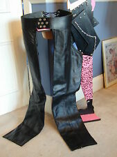 Adjustable Black Leather Biker Chaps - studs at front and laceup at back  Used