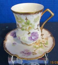 Antique Old Abbey French Limoges Hand Painted Flowers Scalloped Cup and Saucer,