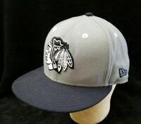 NHL Chicago Blackhawks Gray & Black Snapback Hat Baseball Cap New Era OSFM