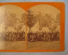 Stereoview 25 People Old Men & Women 3 Tents & Trees Reunion Veterans Retreat(O)