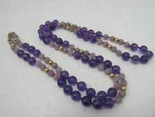 "32"" 5mm 14k Yellow Gold Beaded Amethyst Necklace"